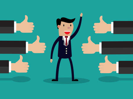 compliments: Vector illustration of a successful businessman acknowledging many thumbs up around him. Conceptual design for success and achievement Illustration