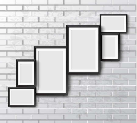 wall paintings: Set Realistic frame on White grunge brick wall. Perfect for your presentations.  frame for your projects.  Vector illustration