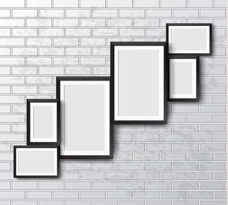 Setzen Sie sich realistische Rahmen auf Weiß Grunge-Mauer. Perfekt für Ihre Präsentationen. Rahmen für Ihre Projekte. Vektor-Illustration