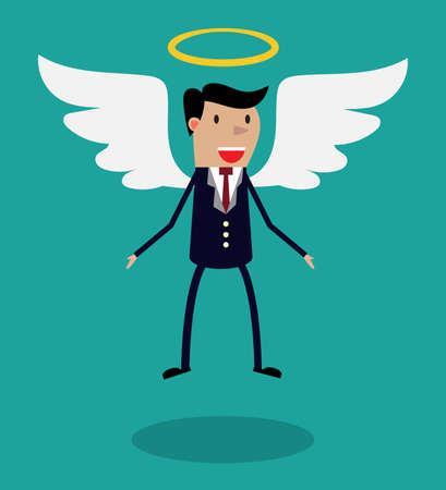 fondos negocios: Carácter del hombre de dibujos animados en traje de negocios con las alas y halo volando en el aire. Metáfora para business angel o inversor ángel.