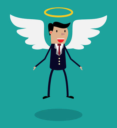Cartoon man character in business suit with wings and halo flying in the air. Metaphor for business angel or angel investor. Illustration