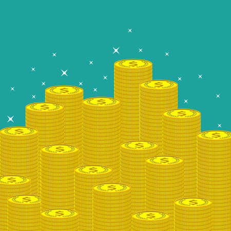 money making: Flat money making background with coins. E-commerce and web payments. Vector illustration.