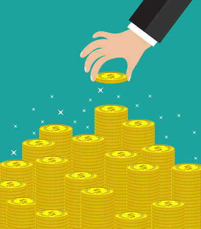 making money: Concept of wealth. Hand put coin to money staircase. Flat design, vector illustration. Profit. Making money. For business and finance concept.