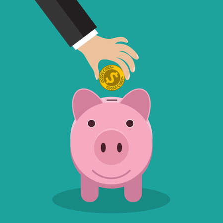 buisness: Buisness man hand put gold coin in pink piggy bank on green backgound vector illustration in flat design. infographics web design elements Illustration
