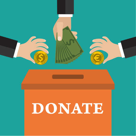 donating: Buisness man hand putting gold coin  and money in donation box on green backgound. vector illustration in flat style, infographics web design elements