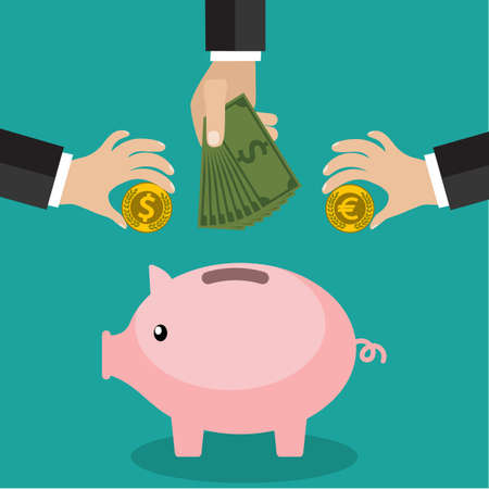 Many hands putting coin and money into a piggy bank. Saving and investing money concept.  vector illustration in flat design. infographics web design elements Vectores