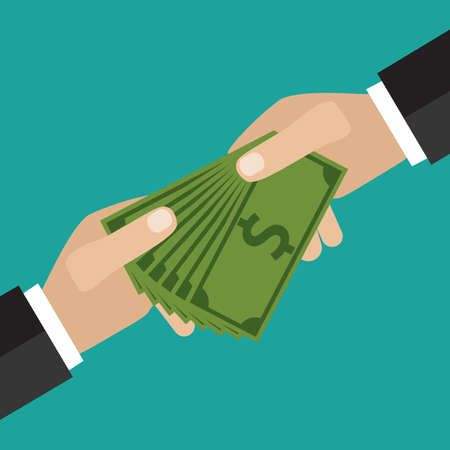 buisness: Buisness man hand give money Buisness man on green backgound vector illustration in flat design. infographics web design elements Illustration