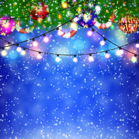 postal card: Christmas Lights and fir twigs background . concept for greeting or postal card. vector illustration