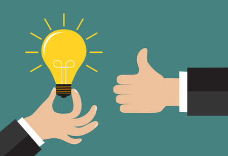 hand: Good idea concept. Hand holding a lightbulb and an another hand showing a thumbs up hand sign. Flat style. Business strategy planning objects icon set collage. Vector illustration