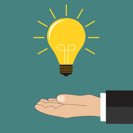 invent clever: Flat style modern idea innovation light bulb concept. Conceptual web illustration of businessman hand holding lamp. Business strategy planning objects icon set collage. Vector illustration