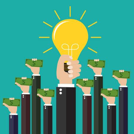 Conceito colorido do projeto liso para investir nas ideias, crowdfunding, financiando o projeto aumentando as contribuições monetárias, capital de risco isolado no fundo verde. ilustração vetorial