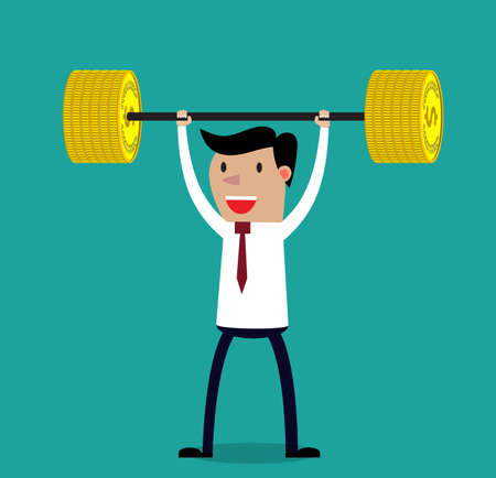 wealth: Business executive power lifting barbell made of golden coin.  Vector illustration for business financial strength and financial health metaphor.