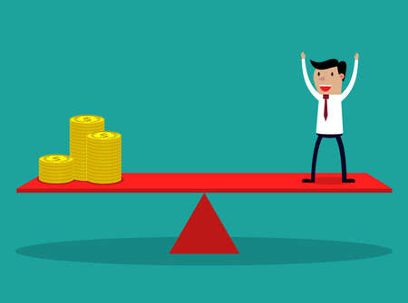weighing scale: Businessman and golden coins on balancing beam scale. Conceptual vector illustration for weighing the costs and benefits for additional human resource.