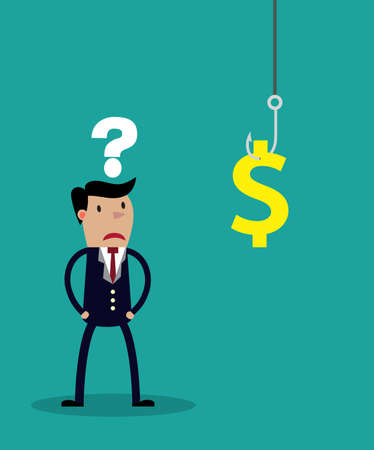 hesitation: An uncertain businessman standing in front of a hook with a dollar sign as bait. Vector illustration for business concept and metaphor isolated on green background.