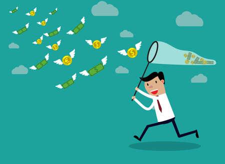 Businessman courir avec filet à papillon chassant l'argent qui vole dans l'air. Concept d'entreprise Finance. illustration vectorielle dans la conception à plat sur backgound vert