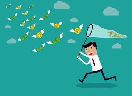 Businessman running with butterfly net chasing money which is flying in the air. Finance business concept. vector illustration in flat design on green backgound
