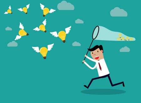 papillon: Homme d'affaires en cours d'ex�cution avec le papillon net attraper des ampoules qui volent dans l'air. concept d'entreprise Idea. Vector illustration Illustration