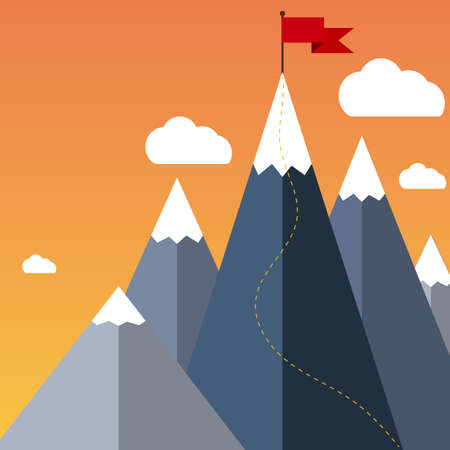 goal achievement: Mountaineering Route. Goal Achievement or Success Concept. Mountains with snow and red flag on the top, sky and clouds on background. Vector illustration in flat style