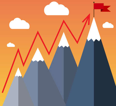 achieve goal: Mountaineering Route. Goal Achievement or Success Concept. Mountains with snow and red flag on the top, sky and clouds on background. Vector illustration in flat style