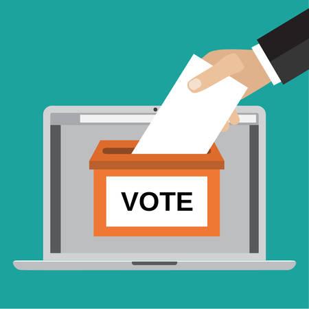 Concept en ligne de vote. Main humaine mettant le papier voté dans l'urne sur un écran d'ordinateur portable. Illustration vectorielle en style plat. Infographies éléments de conception web