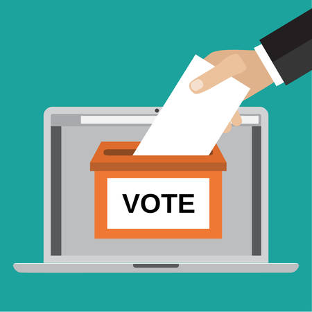 Voting online concept. Human Hand putting voting paper in the ballot box on a laptop screen. Vector illustration in flat style. infographics web design elements