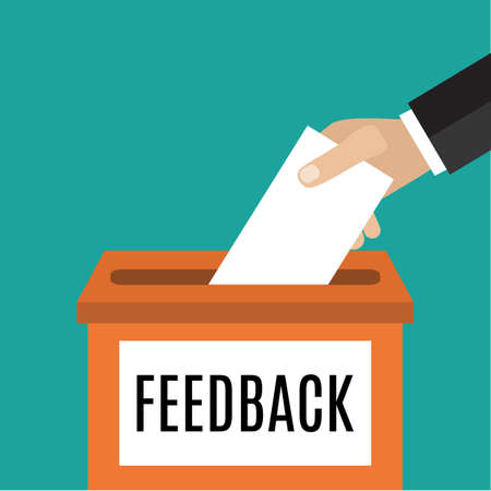 Feedback concept - Human Hand zetten papier in het vak feedback - Vector illustratie in vlakke stijl. infographics web design elementen Stock Illustratie