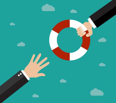 Aider les entreprises à survivre. Affaires noyade obtenir bouée de sauvetage d'un autre homme d'affaires. Aide d'affaires, le soutien, la survie, la notion d'investissement. Vector illustration dans le style plat Banque d'images - 48671034