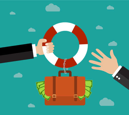 survive: Helping Business to survive. Businessman getting financial aid with lifebuoy. Business help, support, survival, investment concept. Vector illustration in flat style