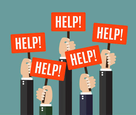 failure: Businessmen holding redsignboards with the word HELP. A lot of hands hold placards. Vector illustration in flat style