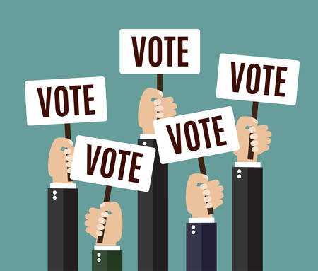 placards: Businessmen holding a signboard with the word vote. A lot of hands hold placards. flat design, vector illustration,