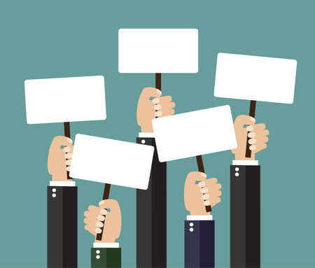 crowd happy people: Businessmen holding a signboard with the blank paper. A lot of hands hold placards. flat design, vector illustration,