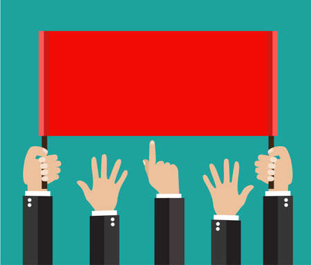punch press: Businessmans hands, gestures. A lot of Businessman hands holding a placard. vector illustration in flat style