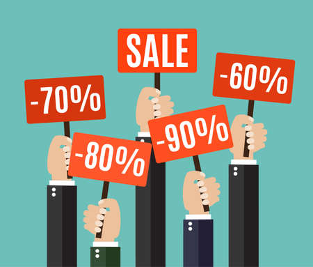 Concept of discount. A lot of hands holding placards with sales. Colorful Vector Illustration in flat style