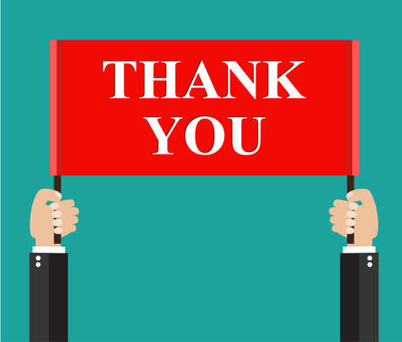 to thank: Businessmans hands holding thank you sign.  vector illustration in flat style Illustration
