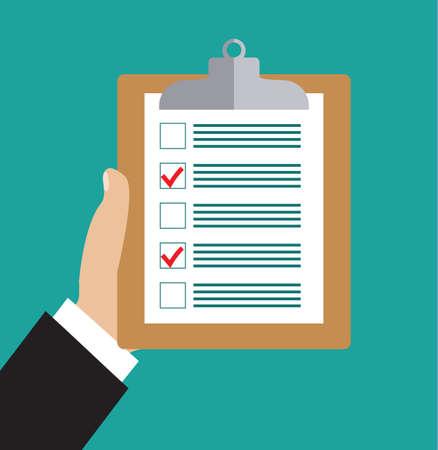 Hand houden klembord met checklist. lijst en planning project met kantoorbenodigdheden to-do. Flat pictogram modern design stijl vector illustratie concept. Stock Illustratie