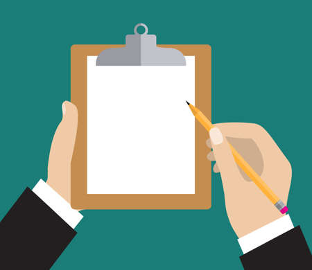 hand pencil: Hand of businessman holding clipboard with blank sheet of paper and a pencil. Flat icon modern design style vector illustration concept. Illustration