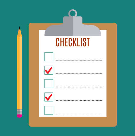 checklist: Clipboard with blank checklist form and pencil , to-do list and planning project with office supplies. Flat icon modern design style vector illustration concept.
