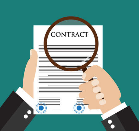 oversee: Contract inspection concept - Hand holding magnifying glass over a contract -  Flat icon modern design style vector illustration concept.