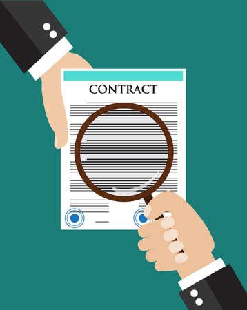 documentos: concepto de inspecci�n contrato. Mano que sostiene un contrato, que posean otra mano lupa sobre el contrato. icono de estilo de dise�o moderno plano concepto de ilustraci�n vectorial. Vectores