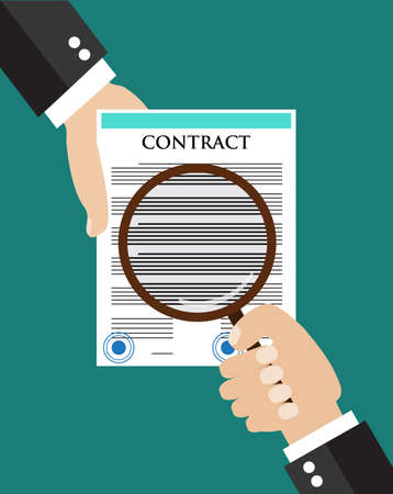 legal contract: Contract inspection concept. Hand holding a contract, another hand holding magnifying glass over the contract.  Flat icon modern design style vector illustration concept.