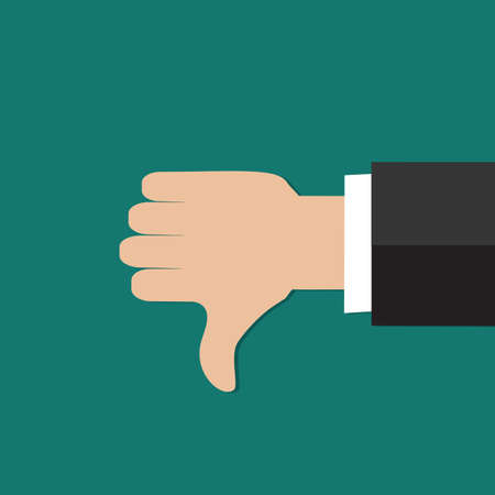 thumbs down: Thumbs down hand sign. Flat icon modern design style vector illustration concept.