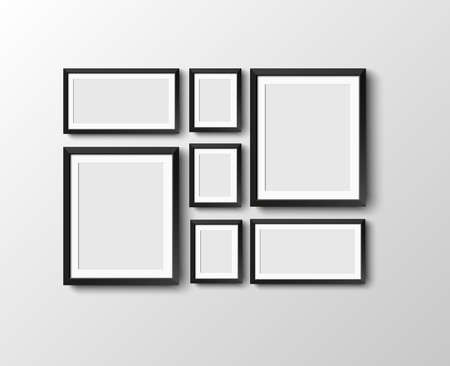 set Realistic black photo picture frame at light background.  Vector illustration.   frame for your projects