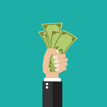 Money on hand. Businessman giving a cache. Vector illustration in flat style