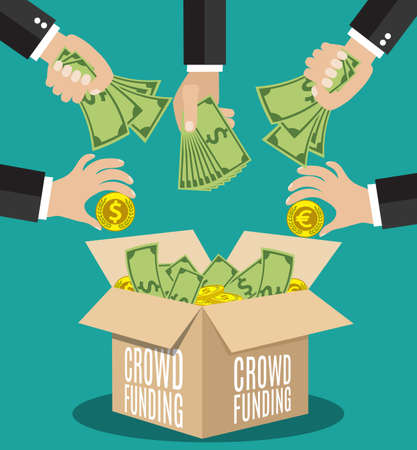 giving money: Crowdfunding concept. A lot of hands giving money for new business project.  Flat icon modern design style vector illustration concept.
