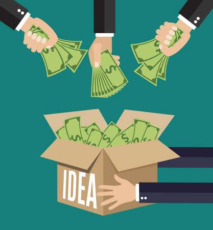 concept voor crowdfunding, de financiering van het project door het verhogen van de monetaire bijdragen van de menigte van mensen. Flat pictogram modern design stijl vector illustratie concept.