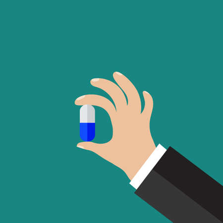med: Hand holding a pill. Flat icon modern design style vector illustration concept.