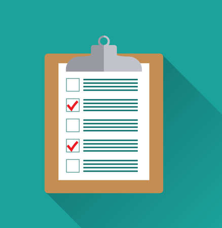 list: Clipboard with blank checklist form, to-do list and planning project with office supplies. Flat icon modern design style vector illustration concept.