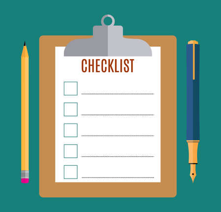 todo: Clipboard with blank checklist form and pencil  and pen, to-do list and planning project with office supplies. Flat icon modern design style vector illustration concept. Stock Photo