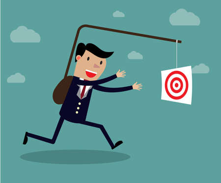 tempt: Businessman chasing his target, Motivation concept. Creative vector cartoon illustration on self defeating method to achieve wealth concept
