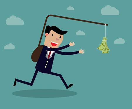 ejecutivo de negocios que se ejecuta después de la nota del dólar colgando delante de él. Creativo del dibujo animado del vector en el método contraproducente para lograr el concepto de riqueza